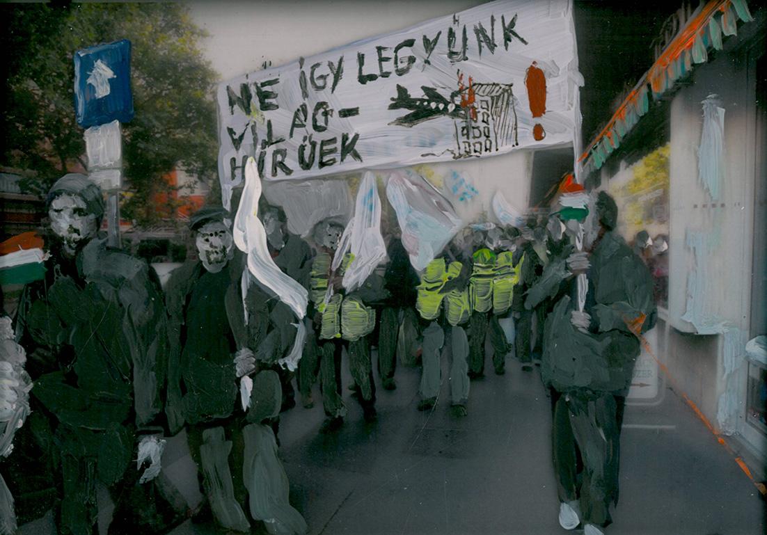 Let's Be World Famous - But Not This Way (mixed technique, photo, foil, acrylic paint / 14,5 x 21 cm / 2014)